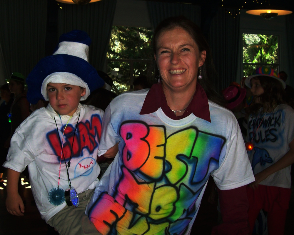 photo of mom and son wearing airbrush shirts