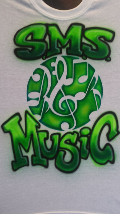 Airbrushed tee shirt for music program