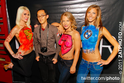 Body painted models at corporate event