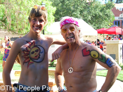 Two men with party body paint